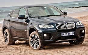 BMW, jipe, frente, azul, plyazh.pesok, horizonte cheio, BMW
