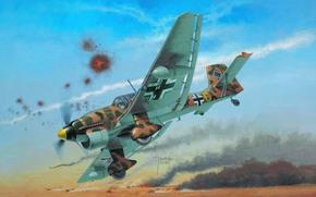 рисунок, самолет, юнкерс, штука, пикирующий бомбардировщик, люфтваффе, северная африка