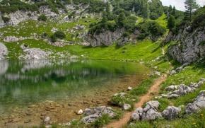 lago, Montagne, verdura, erba, pietre, Hills, sentiero, superficie liscia, riflessione