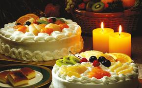 dessert, Cakes, cream, fruit, slices, kiwi, oranges, pineapple, Cherry, cherry, table, Candles, basket, grapes, apples, saucer, Puff