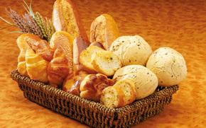 корзина, хлеб, выпечка, сдоба, ломти, батоны, булочки