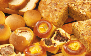 стол, хлеб, сдоба, выпечка, булочки, начинка, пирог, орехи, ломти