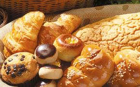 хлеб, булочки, сдоба, выпечка, шоколад, пончики, корзина