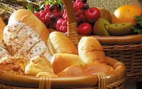 корзины, хлеб, сдоба, выпечка, батоны, булочки, орехи, виноград, яблоки, киви, апельсины