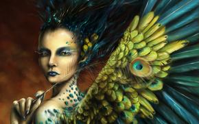 Arte, ragazza, ali, piumaggio, Fantasia, penna, Pavone