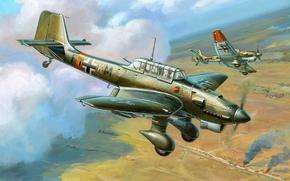 рисунок, самолет, Жирнов, юнкерс, штука, пикирующий бомбардировщик, люфтваффе