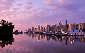 vancouver, Canada, dawn, clouds, building, Skyscrapers, wharf, ocean, Yacht