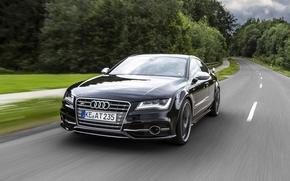 Audi, nero, anteriore, strada, alberi, Audi