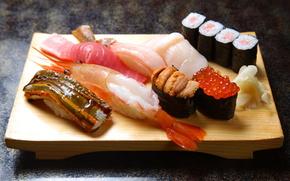 board, Rolls, sushi, rice, fish, red caviar, shrimp, seafood