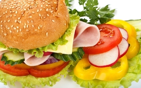hamburger, fast food, vegetables, onion, pepper, tomatoes, cucumbers, roll, sesame, ham, cheese