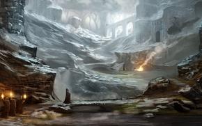 Art, castle, ruins, procession, snow, river, bridge, cloak, hood, torch, tent, rocks, stones