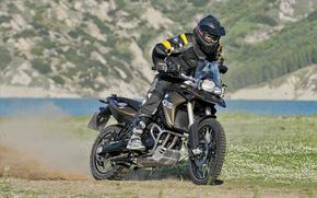 BMW, motocicletta, anteriore, Biker, motociclista, erba, sfondo, motocicli