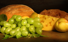 виноград, сыр, хлеб, груши, фрукты