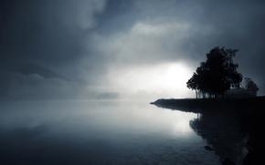 crepuscolo, lago, acqua, alberi, nebbia, pietre, Hills, in bianco e nero