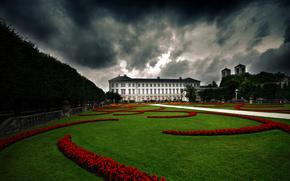 公园, 篱笆, 草, 城堡, 房子, 宫殿, 花卉, 云