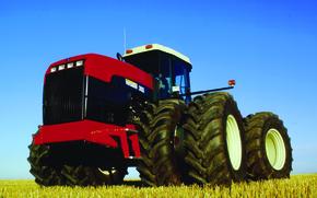 grande, trattore, campo, Ruota, Altre macchine e attrezzature