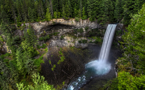 Canada, waterfall, rock, forest, Trees, flow