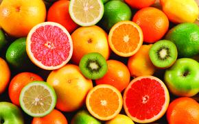 fruit, kiwi, oranges, lemons, Grapefruits