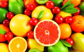 fruit, kiwi, oranges, lemons, Grapefruits, Cherry