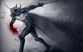 арт, sakimichan, dark knight, оружие, меч, кровь, шлем