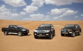 Toyota, Land Cruiser, Hilux, desert, sand, sky, toyota