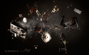 explosion, music, Speaker, radio, debris, dust, recorder, Boombox