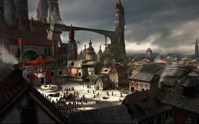 Art, city, castle, bridge, people, smoke, Pipe, tower, block, execution, tribune