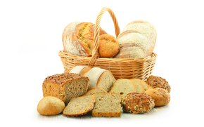 корзина, хлеб, выпечка, ломти, булочки, батон