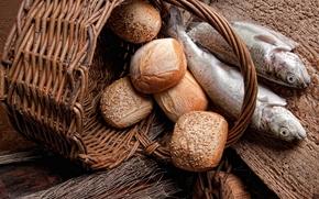 корзина, хлеб, булочки, рыба