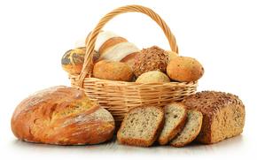 корзина, хлеб, булочки, мак, ломти