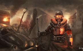 Art, soldier, metal, mask, helmet, machine, city, lantern, ruins, fence, fire, weapon, rifle, dressing, blood, debris, German