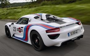 Порше, Спайдер, Прототип, Мартини, суперкар, вид сзади, белый, дорога, фон, Porsche