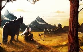 арт, девушка, конь, пёс, горы, поселение, город, деревья