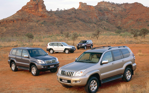 Toyota, Wypoycza, Krownik, Prado, Kruzak, TLC Prado, tapeta, SUV, Jeepy, pustynia, krajobraz, Australia, Japonia, Toyota