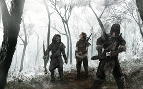 Art, people, Warriors, Robbers, forest