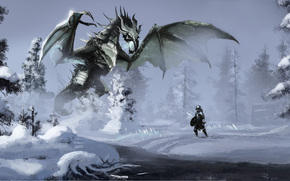 Art, Winter, snow, dragon, Warrior, river, small river, forest, magic