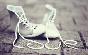 renda, sapatos, amar, rua, andar