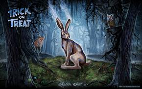 trick or treat, rabbit, Owl, forest, fox, light, tree, metal