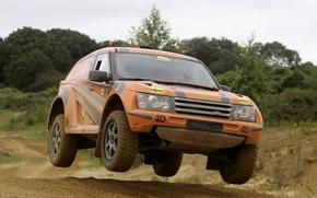 Bombetta, Nemesi, camionetta, SUV, macchina da corsa, anteriore, Sintonia, arancione, salto, strada, alberi, Land Rover