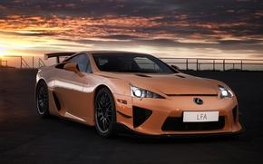 Лексус, ЛФА, суперкар, оранжевый, передок, небо, фон, Lexus