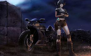 girl, motorcycle, night, Sparks, pose, light