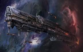 арт, космос, корабль, самолёты