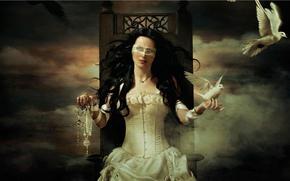 Sharon den Adel, singer, songwriter, white doves, pigeon, throne, Jewelry, Tape, dressing, judge, Symbols, singer, girl, world, corset, sky, clouds, dawn, fog