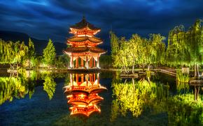 Китай, парк, пагода, пруд, деревья, отражение