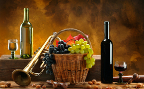 wine, red, White, pipe, basket, grapes, Nuts