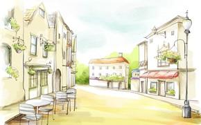 рисунок, акварель, улица, дома, кафе, столики, вывеска, фонарь, цветы