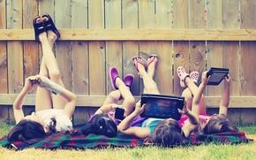 Meninas, Adolescentes, crianas, menina, recreao, p, rvore, porto, grama, verduras, prado, tcnica, telefone, comprimido, ngreme