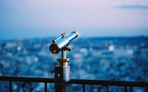 pipe, telescope, blue background, nice