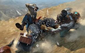 арт, дорога, битва, оружие, карета, лошадь, конь, удар, осколки, движение, рапира, шляпа, цилиндр, оборудование, киберпанк