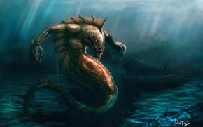 арт, под водой, монстр, корабль, остов, впадина, клыки, человек, жертва, внутри
